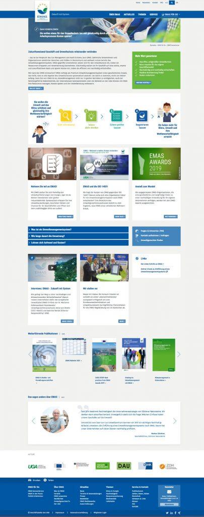 Unterseite EMAS mit vielen Informationen zum kennenlernen