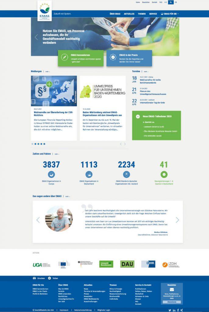 Startseite der EMAS Website